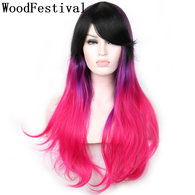 Woodfestival feminino resistente ao calor perucas sintéticas com franja preto para rosa vermelha longa peruca cosplay