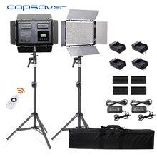 Capsaver TL 600S 2 en 1 luz LED para vídeo fotográfico iluminación Control remoto foto de cámara lámpara Tipod batería para Youtube