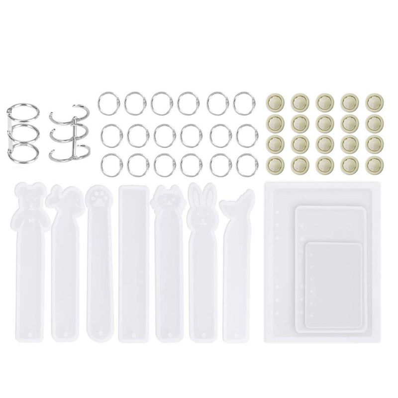 55pcs Resin Casting Molds For Notebook Cover Silicone Resin Molds With Bookmark Resin Molds For Jewelry DIY