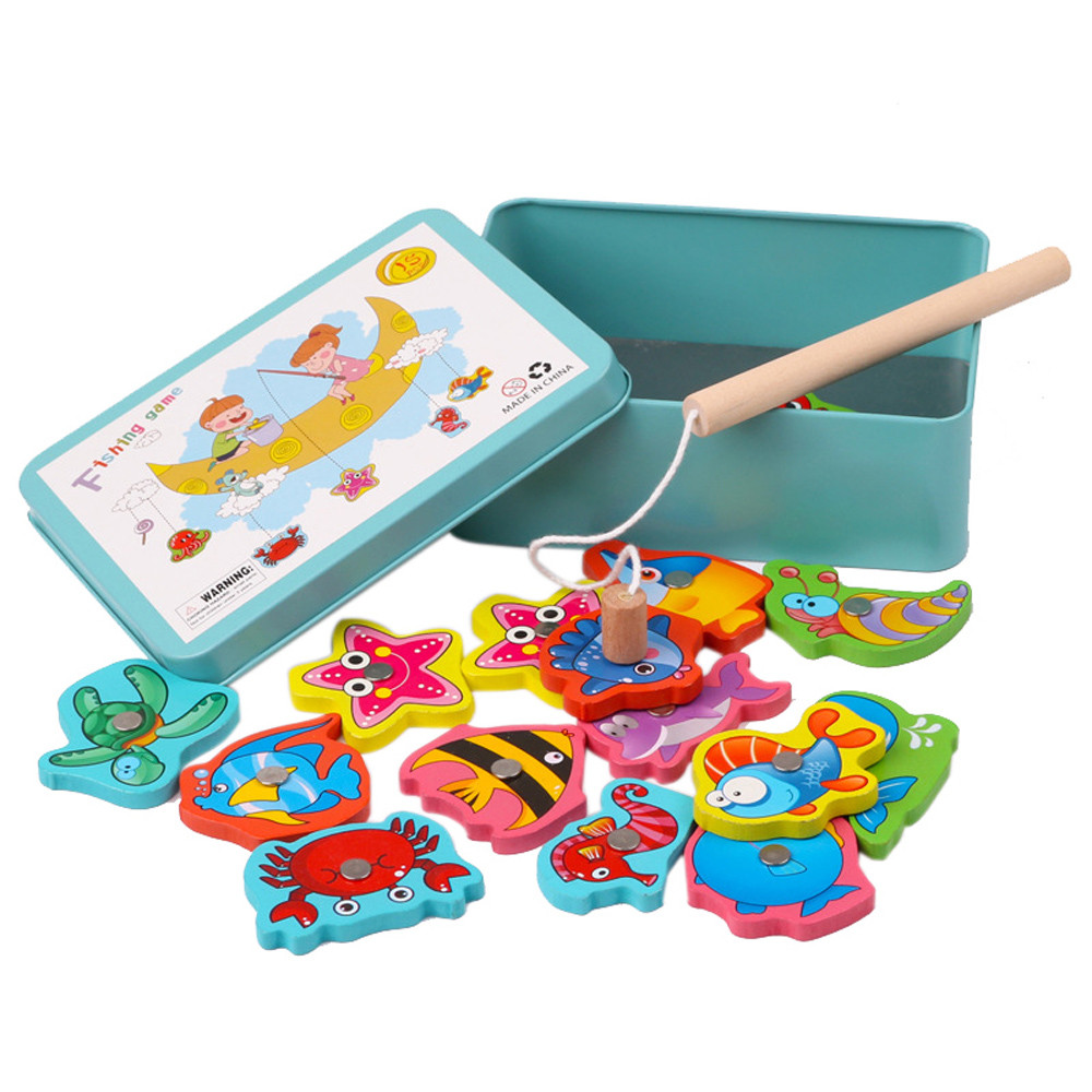 Children's Education Toys Wooden Fishing Toys 15Pcs Fish Wooden Magnetic Fishing Set Fish Game Educational Fishing Toy L0218