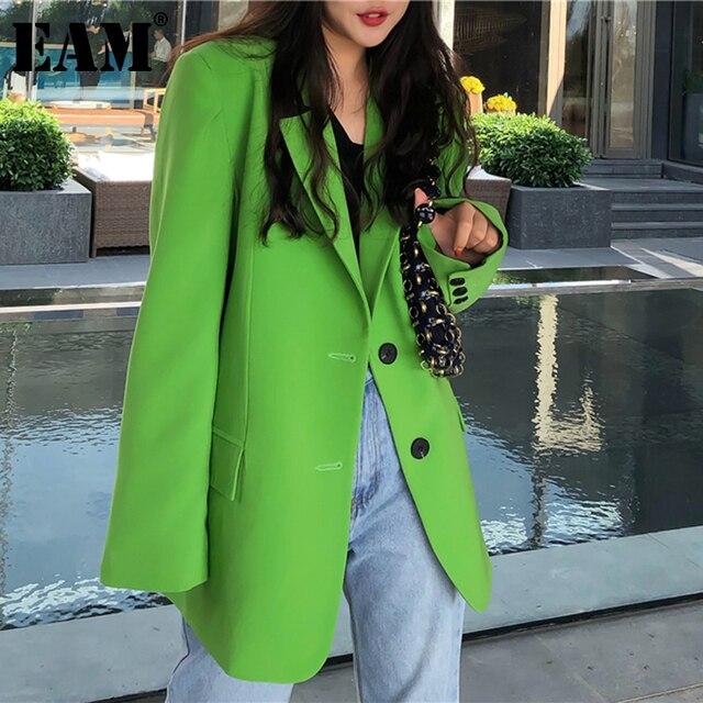 [EAM]  Women Green Split Joint Big Size Blazer New Lapel Long Sleeve Loose Fit  Jacket Fashion Tide Spring Autumn 2021 1DA452 1