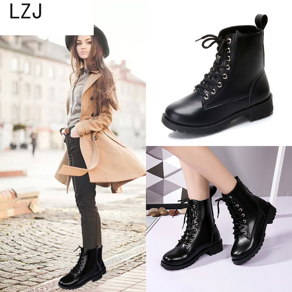 Boots Women Fashion Solid Leather Middle Lace-Up Thick Martin Boots Round Toe Shoes Outdoor PU Leather Winter Female Shoes Sep