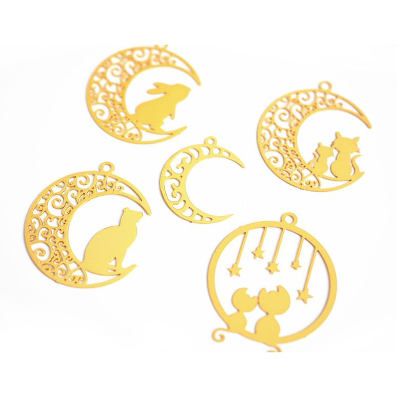 5Pcs Cat Rabbit On Moon Blank Frame Open Bezel Filling UV Resin Jewelry Making
