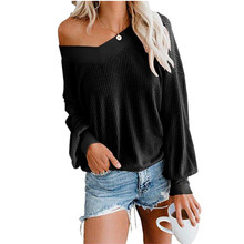 купить Off Shoulder Pullover Womens Sweater Knitted 2019 Autumn Winter V-neck Sexy Sweater Women Long Sleeve Casual Loose Pull femme онлайн