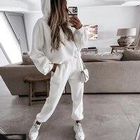 Chándal con manga de murciélago para mujer, y cordón de cintura alta Sudadera con capucha, conjunto deportivo blanco para otoño, 2021