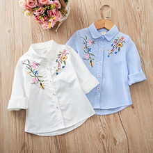 Girls Shirts Blouses Turn-Down-Collar Children Clothes Long-Sleeves Embroidered Stripe