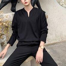 INCERUN-camisa informal de manga larga para hombre, blusa holgada de estilo coreano, Color sólido, ropa de calle, S-5XL, 2021