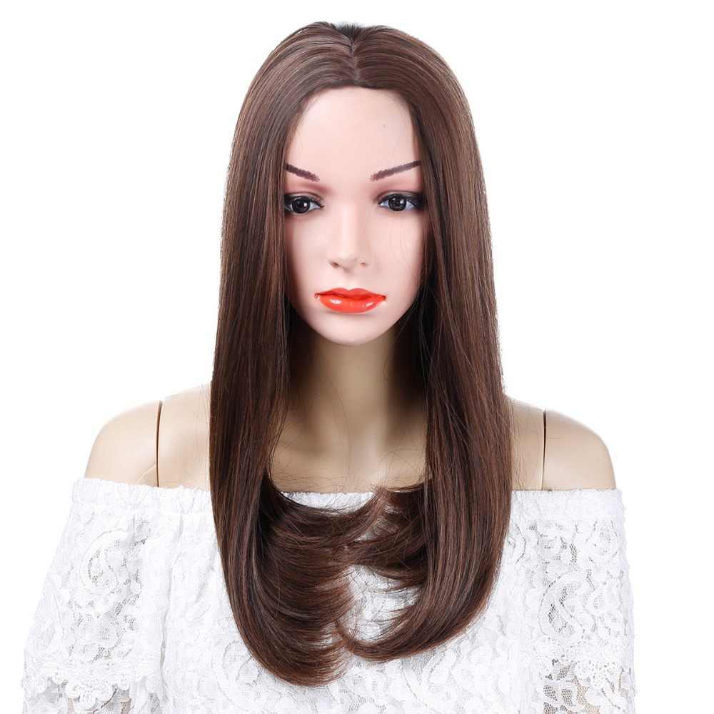 """Allaosify 16 """"Longa Peruca Sintética com Hairtail Fivela de Alta Densidade Natural Headline Resistente Ao Calor Perucas de Cabelo para As Mulheres Marrom"""