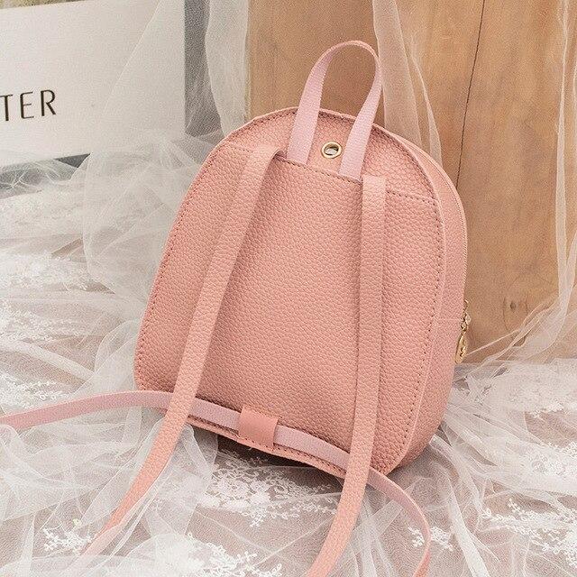 حقيبة ظهر صغيرة حقيبة الكتف للسيدات من جلد بلوتونيوم للفتيات في سن المراهقة الاطفال موضة جديدة صغيرة على ظهره حقيبة المدرسة السيدات الإناث 5