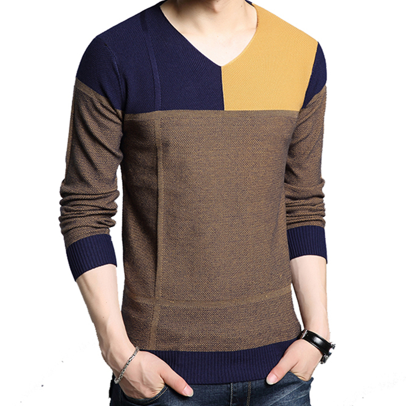 2019 Autumn Casual Men's Sweater V-Neck Striped Slim Fit Knittwear Fashion Clothing Stitching Color Khaki Green Pull Homme J759