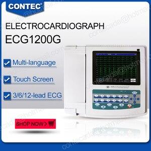 Цифровой электрокардиограф ECG с сенсорным экраном 12 каналов + бесплатное программное обеспечение для ПК, 1200G FDA