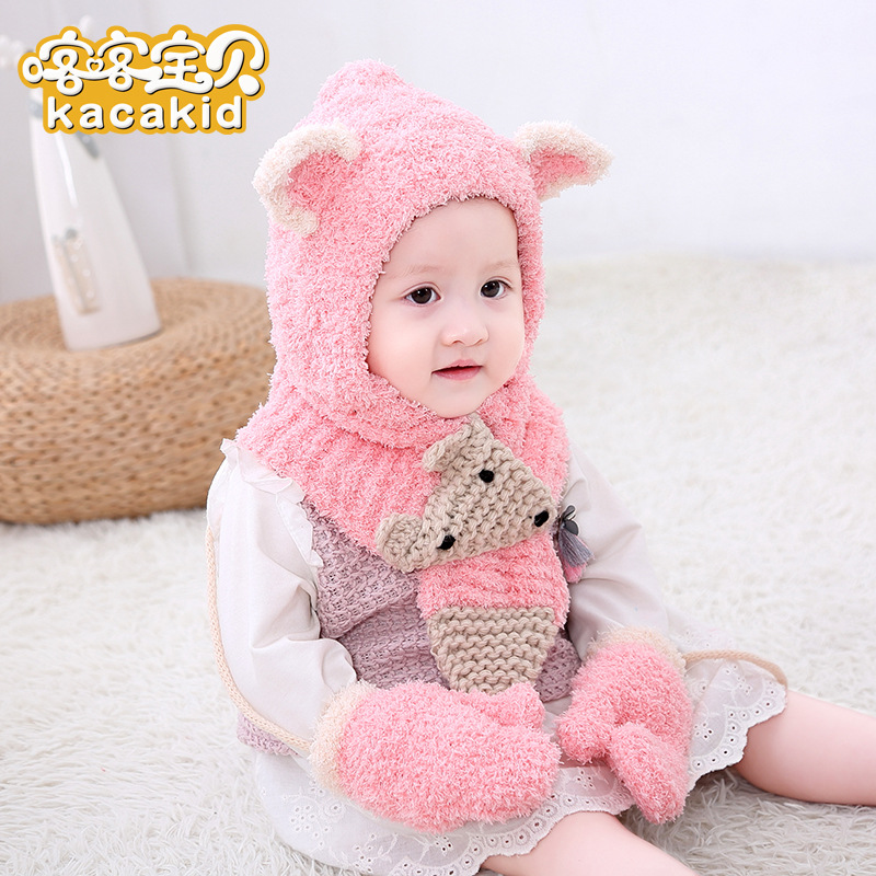 New Winter Beanie Baby Plush Fox Plush Hat Baby Scarf Gloves Warm Three-Piece Set Wholesale