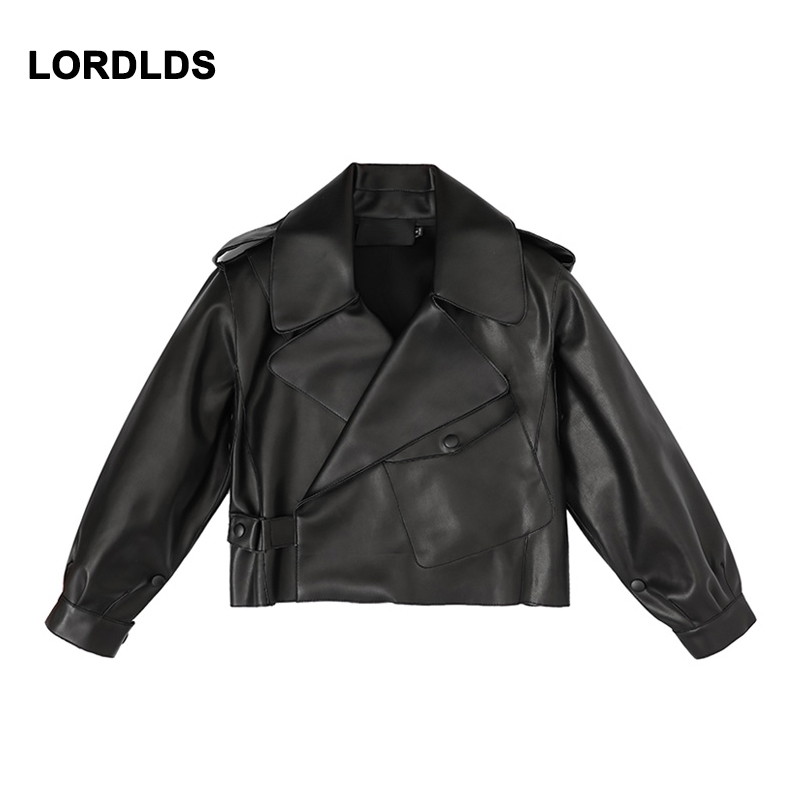 LORDLDS Jacket Motorcycle Clothing Short Collar Coat Female Versatile Casual New Suit