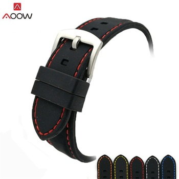 AOOW Generic Watchband Silicone Rubber Watch Strap Bands Waterproof 20mm 22mm 24mm 26mm Watches Belt
