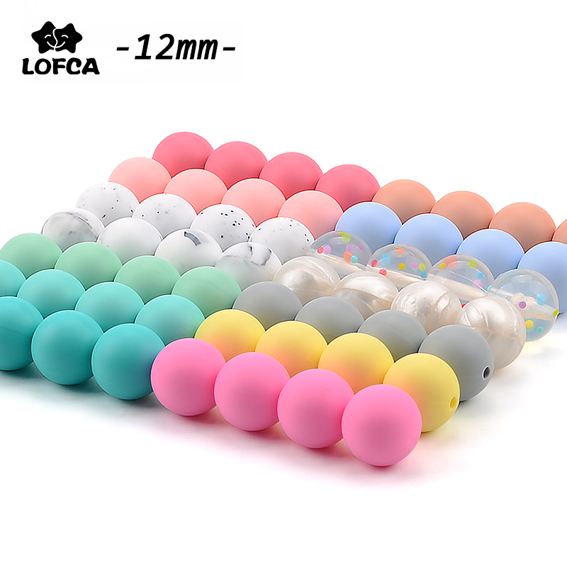 Round-Shape Necklace Chew-Beads Silicone 100pieces/Lot 12MM for DIY Nursing Food-Grade title=