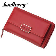Baellerry Wallet Silver Belt Women Fashion Solid Long PU Leather Zipper Hasp Porta Shoulder Bag Note Compartment