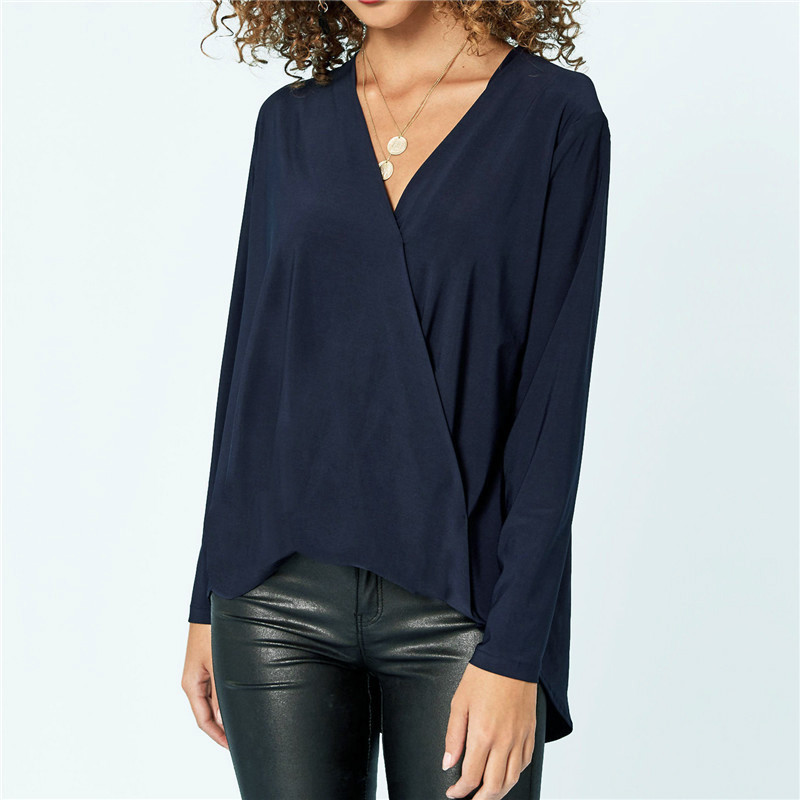 New Chiffon Blouse Women 2020 Long Sleeve Shirt Fashion Sexy V Neck Tops Tees Casual Solid Blouse Plus Size Loose Shirt