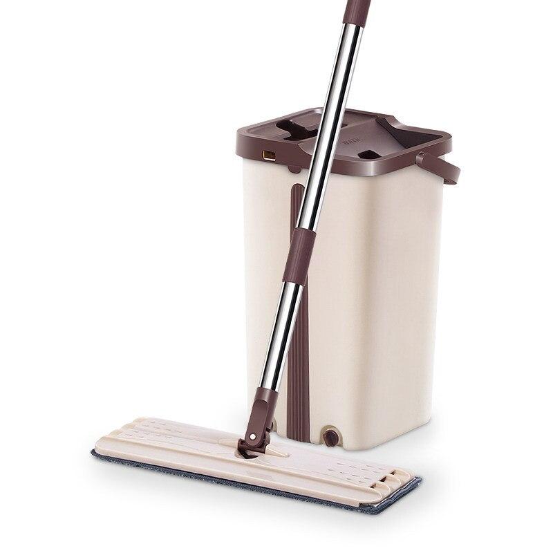 Flat microfiber floor Mop Bucket Hand Free Stainless Steel Mop bucket Self-Wet&Clean tool Dry home Cleaning Microfiber floor Mop