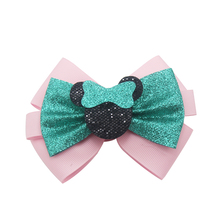 Adogirl 4 Pcs Lovely Glitter Bowknot hair bow for girl Sequine Deco Cute Mouse Hair Clip Kids Party Hairgrips Handmade Headwear