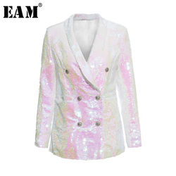 [EAM] 2020 New Spring Autumn Lapel Long Sleeve Sequins Blingbling Buckle Temperament Loose Jacket Women Coat Fashion Tide JY759