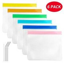 Прозрачный мешок многоразовый мешок для хранения продуктов 6 штук герметичные овощные и фруктовые закуски пакеты для вторичного хранения продуктов свежая сумка
