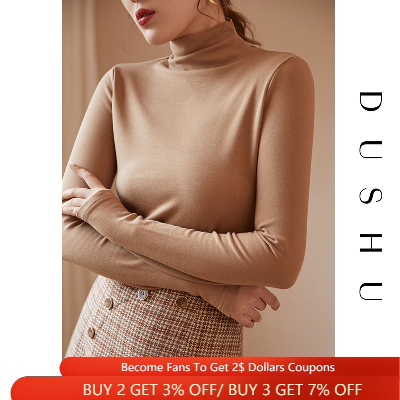 DUSHU Basic Turtleneck Knitted Sweater Women Multicolor Long Sleeves Black Pullovers Winter Female White Jumper Bottoming Shirts