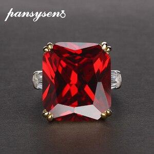 Image 3 - PANSYSEN Charms 14x16mm ametystowe pierścienie z kamieniami szlachetnymi dla kobiet mężczyzn oryginalna 925 Sterling Silver pierścionek zaręczynowy Fine Jewelry