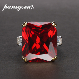 Image 3 - PANSYSEN takılar 14x16mm ametist taş yüzük kadın erkek hakiki 925 ayar gümüş nişan parmak yüzük güzel takı