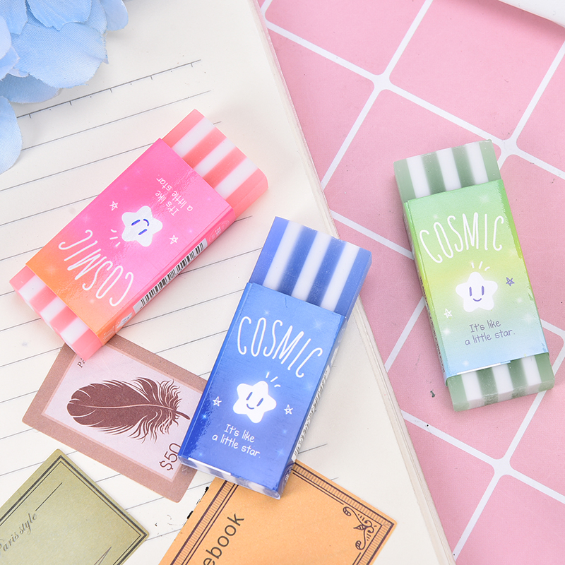 1Pc Eraser Star Jelly Striped Korean Pencil Rubber Erasers School Student Stationery Gift Supplies 2.5cn*6cm