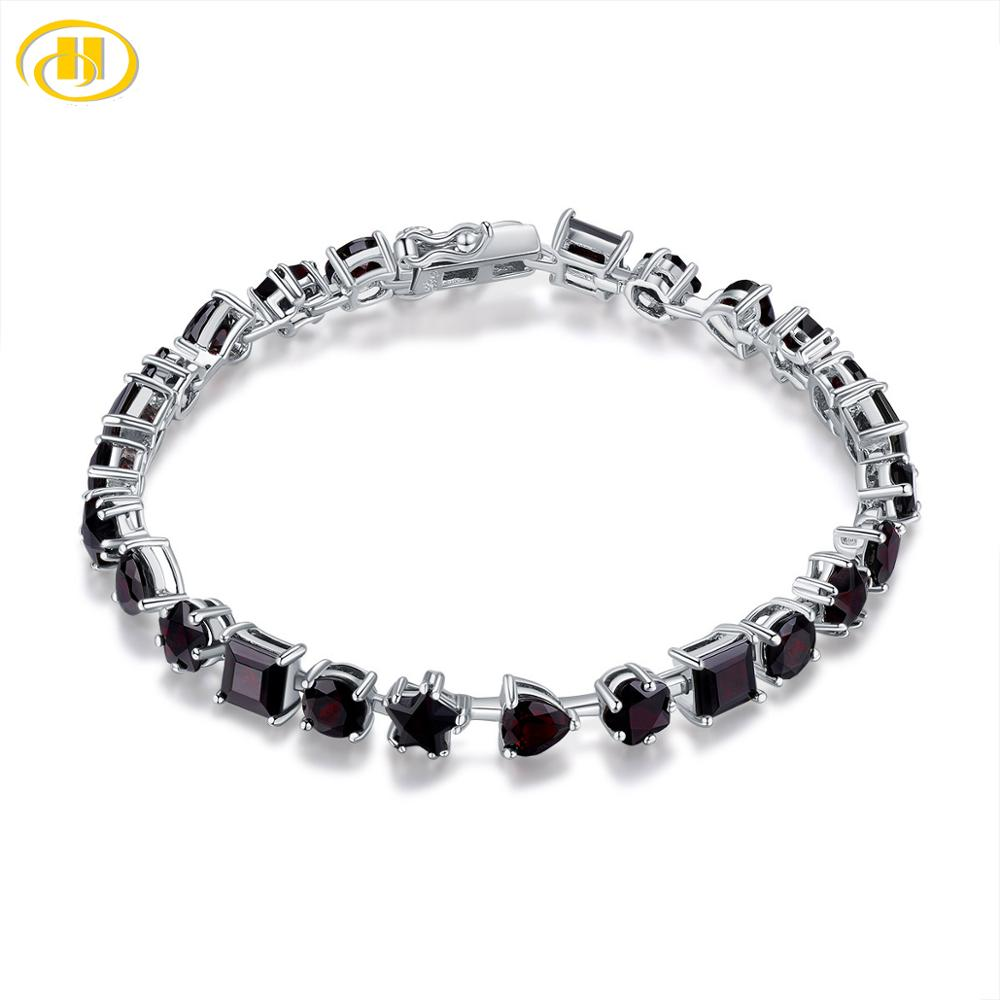 Hutang Garnet Women's Bracelet Stra Heart Round Shape Natural Red Gemstone 925 Sterling Silver Fine Elegant Jewelry 17cm Long