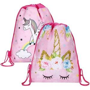 12 шт./партия, сумка на шнурке с единорогом для девочек, дорожная сумка для хранения, школьные рюкзаки с героями мультфильмов, Детские вечерни...