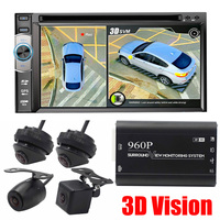 3D HD Surround View Monitoring System 360 Degree Driving Bird View Panorama Car Cameras 4 CH DVR Recorder Support SD upgrade