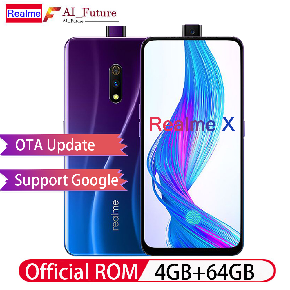 "OPPO Realme X 4G LTE Mobilephone 4GB 64GB Snapdragon710 6.53"" AMOLED 3765mAh 48MP Fingerprint VOOC3.0 Type C unlocked smartphone-in Cellphones from Cellphones & Telecommunications    1"