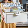 Портативный контейнер для первой помощи прозрачный 3 яруса пластиковая коробка для хранения лекарств большая емкость семейный Аварийный К...
