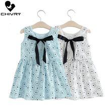 Children Summer Dresses Kids Baby Girls Sleeveless Heart Print V-neck Cotton and Linen A-line Dress Summer Dresses for Girls