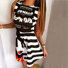 Summer fashion casual women's sleeveless printed Mickey Mouse dress