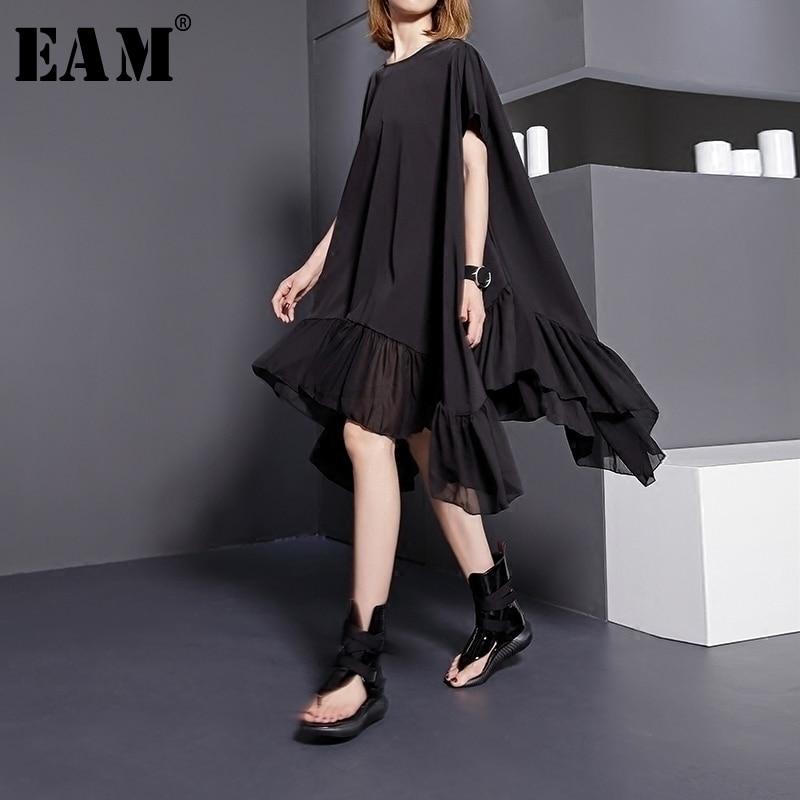 [EAM] 2020 New Spring  SummerRound Neck Short Sleeve Solid Color Black Split Joint Loose Big Size Dress Women Fashion Tide 446