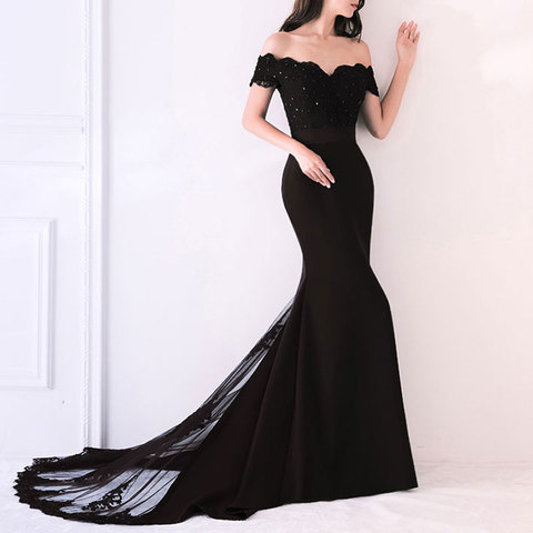 Beauty Emily Lace Navy Blue Evening Dress 2019 Beads Sequined Long Lace Up Formal Party Prom Dress Floor-length  robe de soiree Lahore