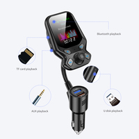fm משדר AOSHIKE Bluetooth Car Kit דיבורית FM משדר אלחוטי נגן MP3 AUX אודיו המקלט עם 2 יציאות USB 3.0 QC Quick Charge (3)