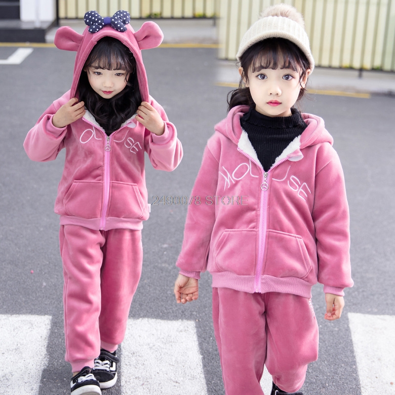 Newborn Baby Boys Girls Winter Warm Plus velvet Hoody Jacket +Pants 2Pcs Clothing Set Kids Children Sports Outdoor Tracksuit 3