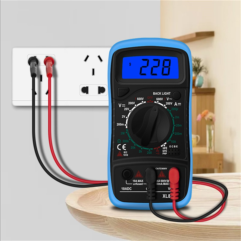 XL830L Handheld Digital Multimeter LCD Backlight Portable AC/DC Ammeter Voltmeter Ohm Voltage Tester Meter Multimetro