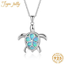 JoyceJelly 925 Sterling Silver Trendy Women Necklace Fine Wedding Jewelry Gemstone Turtle Design Gifts for Engagement Wholesale(China)