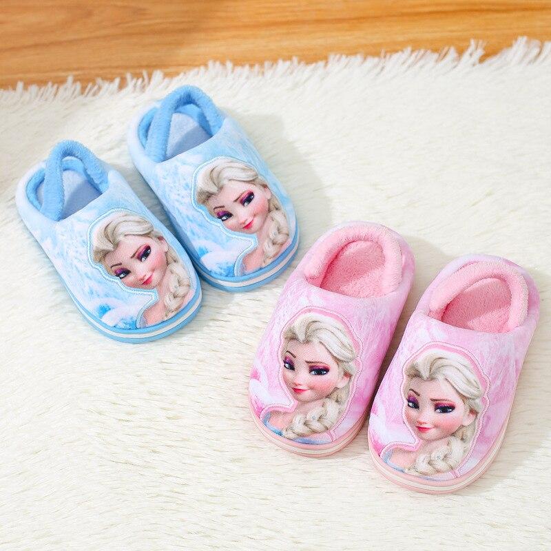 Disney Children's Cotton Slippers 2019 New Winter Warm Frozen Princess Cotton Shoes Girls Home Cotton Shoes