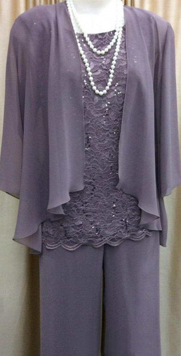 Women 3 Pieces Lace Chiffon Mother Of The Bride Dress Pants Suit With Jacket Outfit 3/4 Sleeves For Wedding Groom
