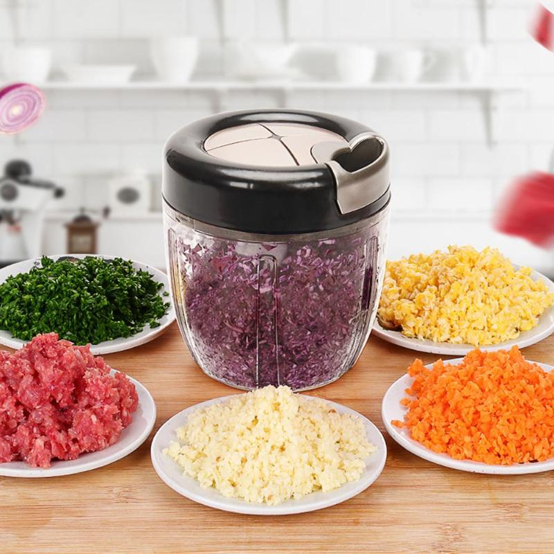Manual Food Chopper ABS Stainless Steel String Vegetable Fruits Nuts Onions Mincer Blender Shredder Food Processors