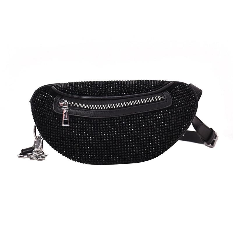 30PCS / LOT Women's Waist Bags Ladies Fanny Pack Fashion Chest Bag Banana Rhinestone Chain Crossbody Shoulder Bags Belt Bag
