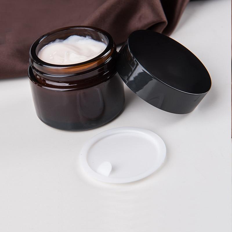 Image 2 - 20 шт 5 г 50 г янтарные стеклянные банки контейнеры косметический крем лосьон порошок КОРИЧНЕВЫЕ БУТЫЛКИ горшки для макияжа дорожные чехлы с черными крышкамиМногоразовые бутылки   -