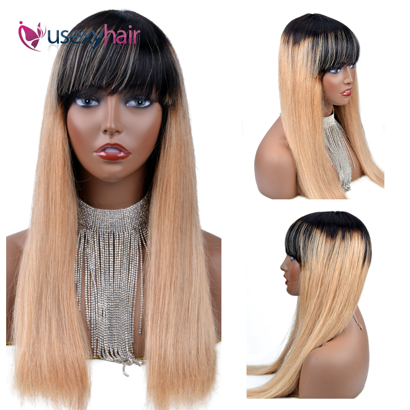 Straight Human Hair Wigs Brazilian Remy Straight Wig With Free Bangs 100% Human Hair Machine Made Straight Wigs Size Adjustable