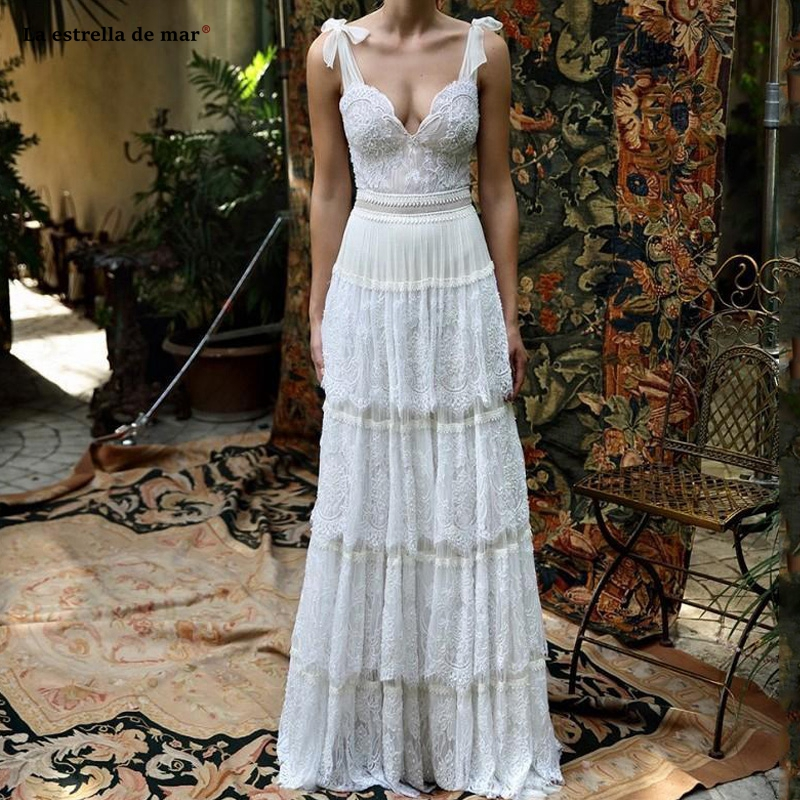 robe blanche mariage new lace sexy V neck bow backless boho wedding dress Floor Length plus size suknie slubne retro bride gown
