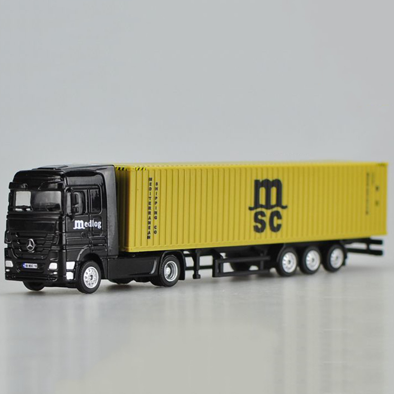 1/87 Container Container Diecast Alloy Truck Model MSC Mediterranean Sea Shipping Transport Vehicle Toys Gift Collection Display
